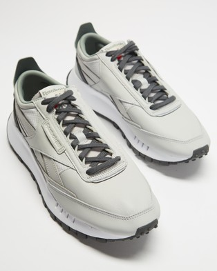 Reebok Classic Leather Legacy   Men's - Low Top Sneakers (Pure Grey, True Grey & Harmony Green)
