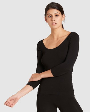 Boody Organic Bamboo Eco Wear 2 Pack 3 4 Sleeve Scoop Neck Top - Tops (Black & White)