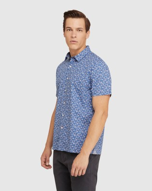 Oxford Leyton Floral Relax Fit S s Shirt - Casual shirts (Blue)