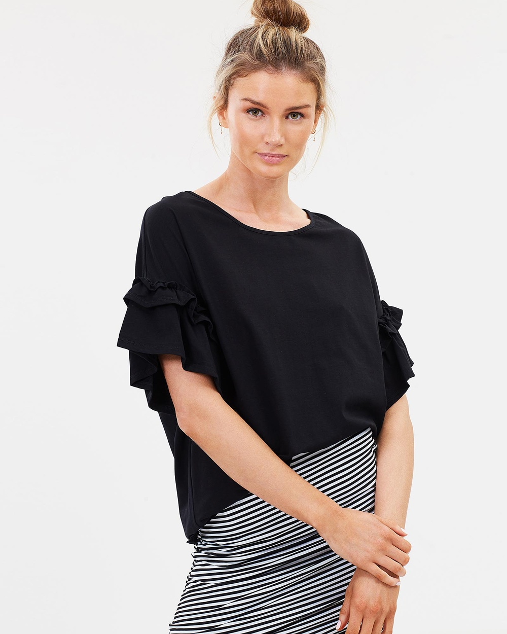 Lincoln St The Frill Cuff Tee Tops Black The Frill Cuff Tee