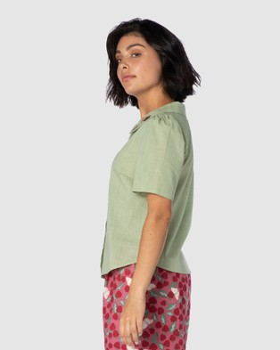 Princess Highway Raspberry Patch Blouse - Tops (Green)