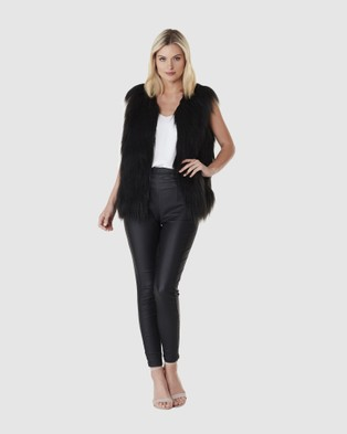 Everly Collective Windsor Faux Fur Vest - Coats & Jackets (Black)