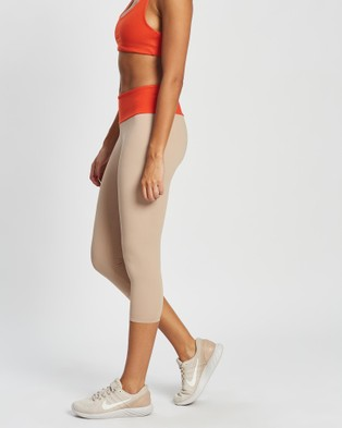 AVE Activewoman Contrast Waistband 7 8 Tights - 7/8 Tights (Nude)