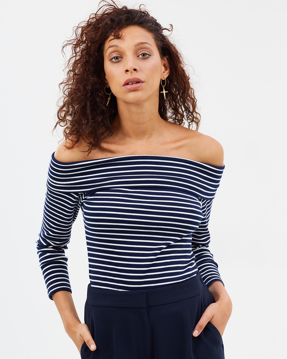 J.Crew Off the Shoulder Striped Foldover Top Cropped tops Navy & White Off-the-Shoulder Striped Foldover Top