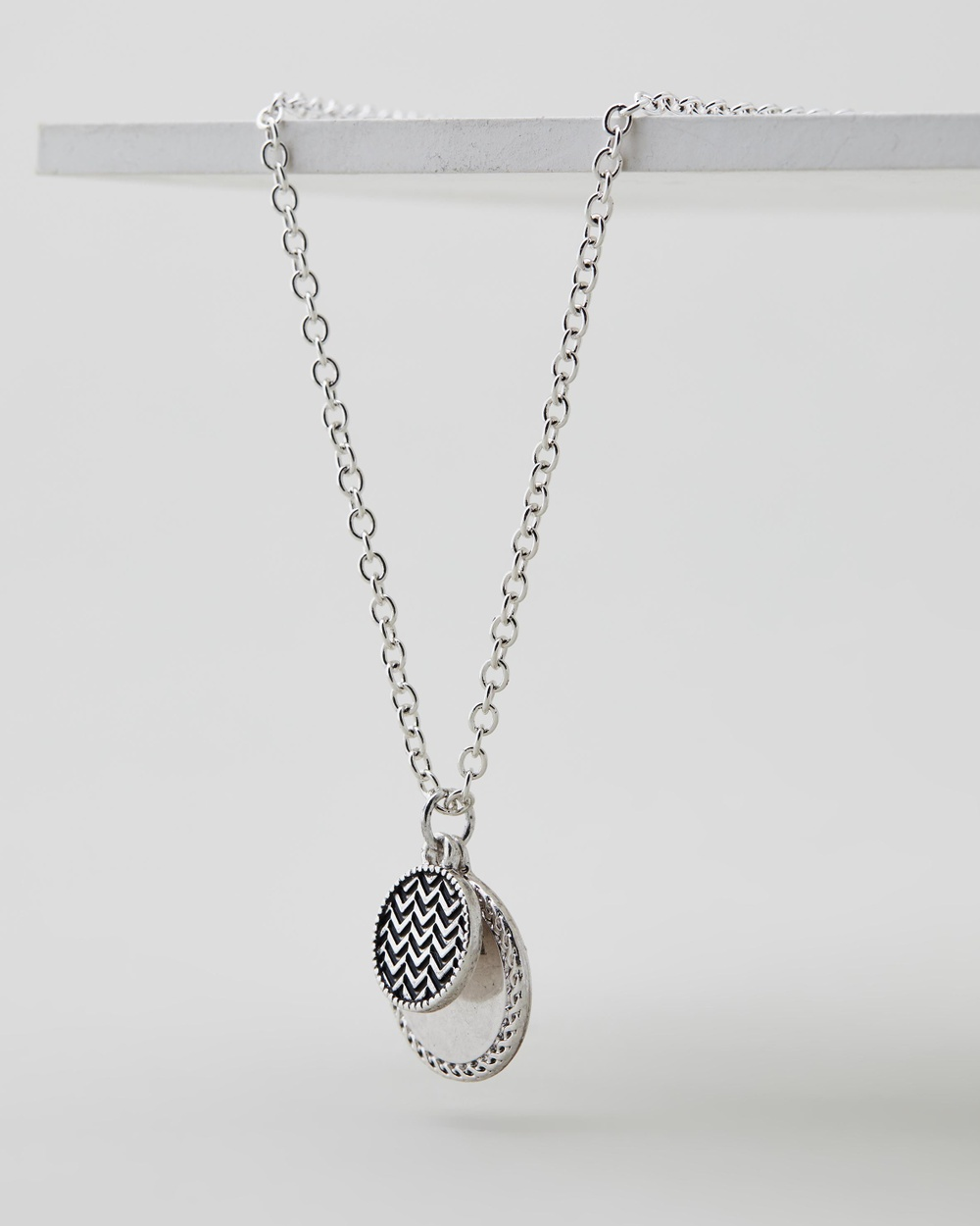 Icon Brand Double Patterned Coin Necklace Jewellery Silver