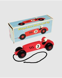 REX - Wooden Pull Along Vintage Racer Car - Kids
