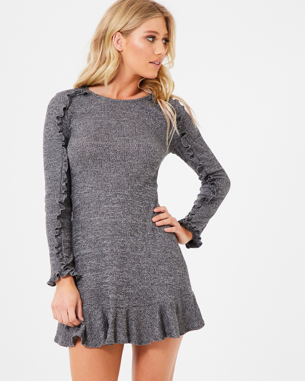 Atmos & Here ICONIC EXCLUSIVE Bailey Knit Ruffle Dress Dresses Charcoal Marle ICONIC EXCLUSIVE Bailey Knit Ruffle Dress