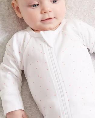 Purebaby Zip Growsuit & Hat Pack Babies Headwear Pale Pink Spot