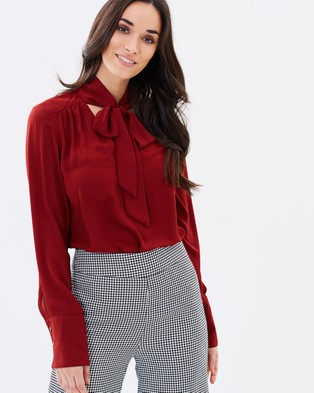 Forcast – Reine Pussy Bow Blouse – Tops (Rust)