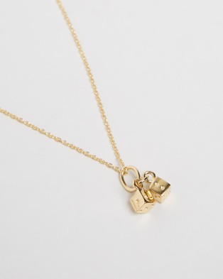 My Little Silver Twinning Dice Pendant & Necklace   Kids - Jewellery (Yellow Gold Vermeil)