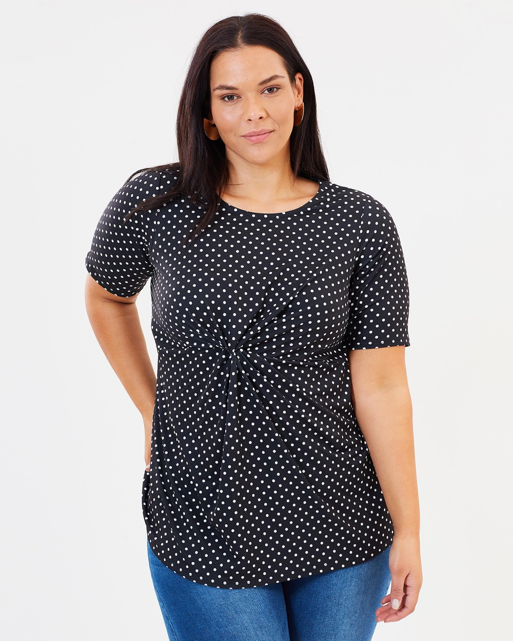 DP Curve Spot Knit Tunic Tops Black Spot Knit Tunic