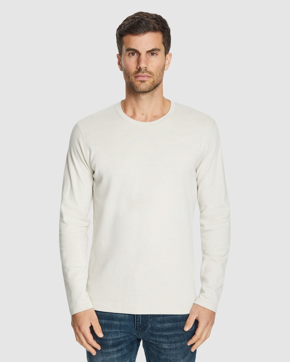 Tarocash - Dominic Crew Stripe Tee - Long Sleeve T-Shirts (OATMEAL) Dominic Crew Stripe Tee