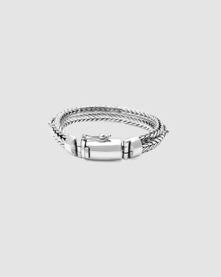 Nialaya Jewellery Men's Star Chain Bracelet Silver