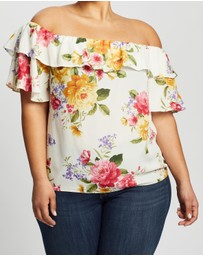 DP Curve - Double Ruffle Pretty Floral Bardot Top