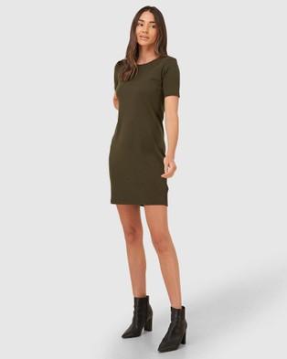 Superdry Zip Back T Shirt Dress - Skirts (Army Khaki)