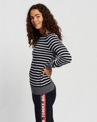 Tommy Hilfiger Essential Stripe Boat Neck Sweater - Jumpers & Cardigans (Desert Sky & White Stripe)
