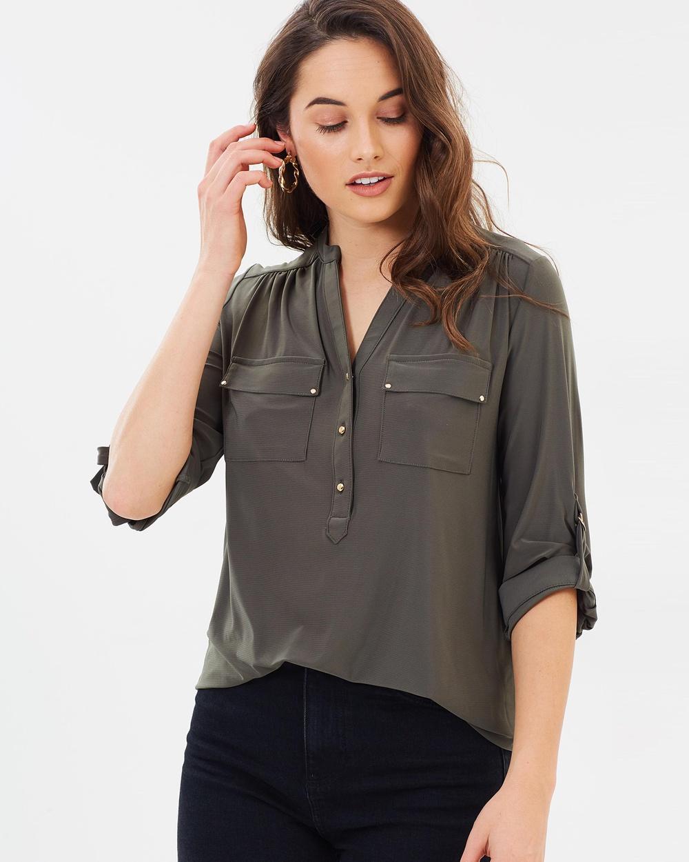 Wallis Longline Shirt Tops Khaki Longline Shirt