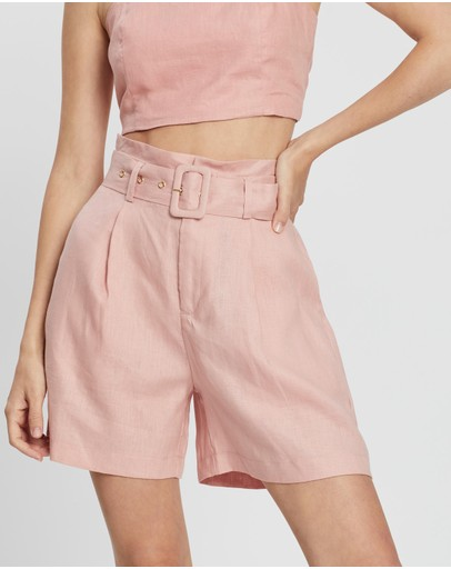 Aere Belted Linen Shorts Pink
