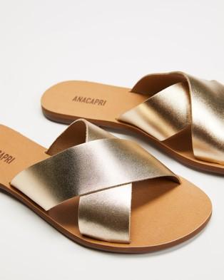 Anacapri Cross Leather - Sandals (Gold)
