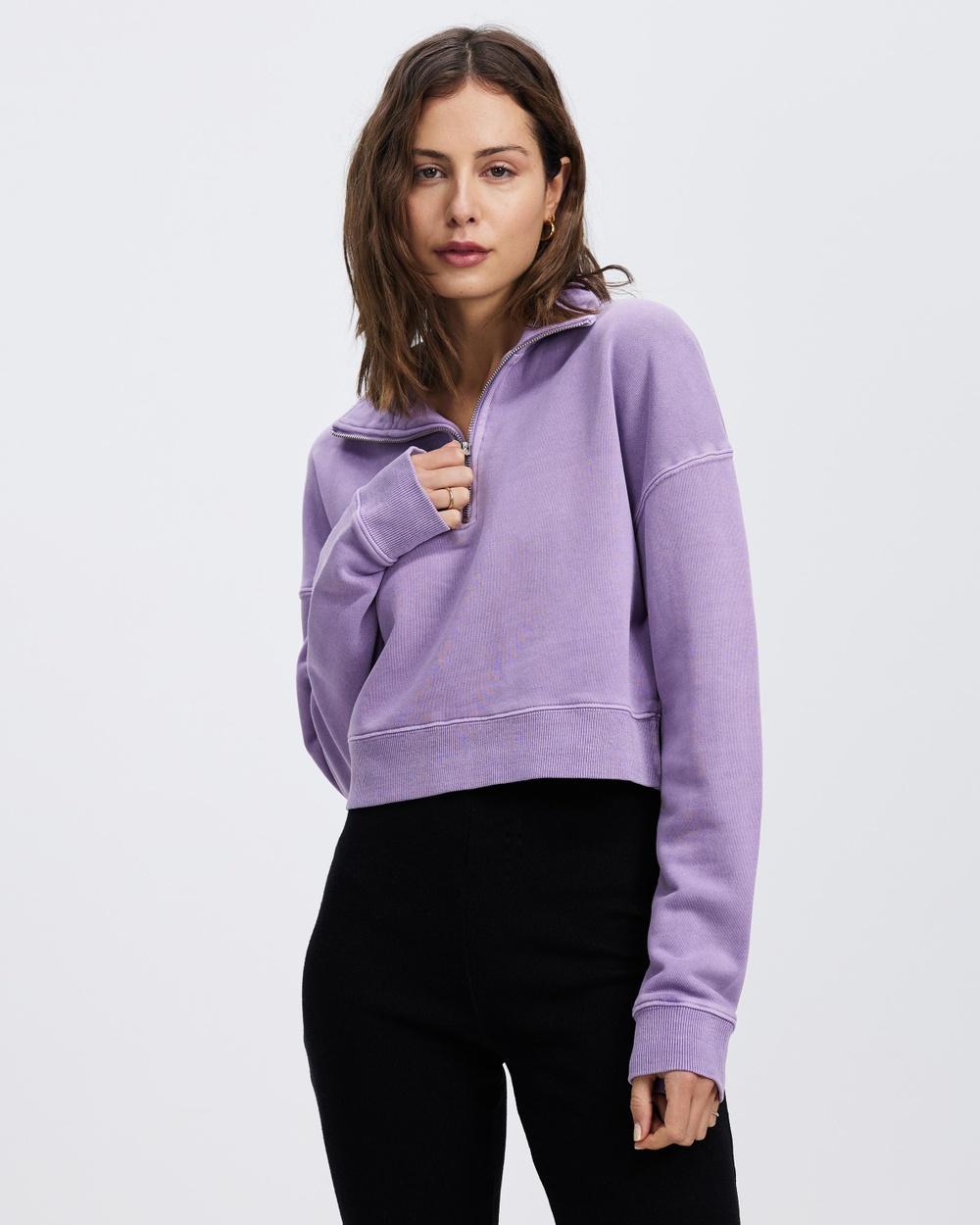 AERE Organic Cotton Cropped Quarter Zip Sweats Purple Amethyst