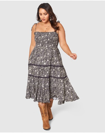 The Poetic Gypsy Floral Print Dress Charcoal Neutral