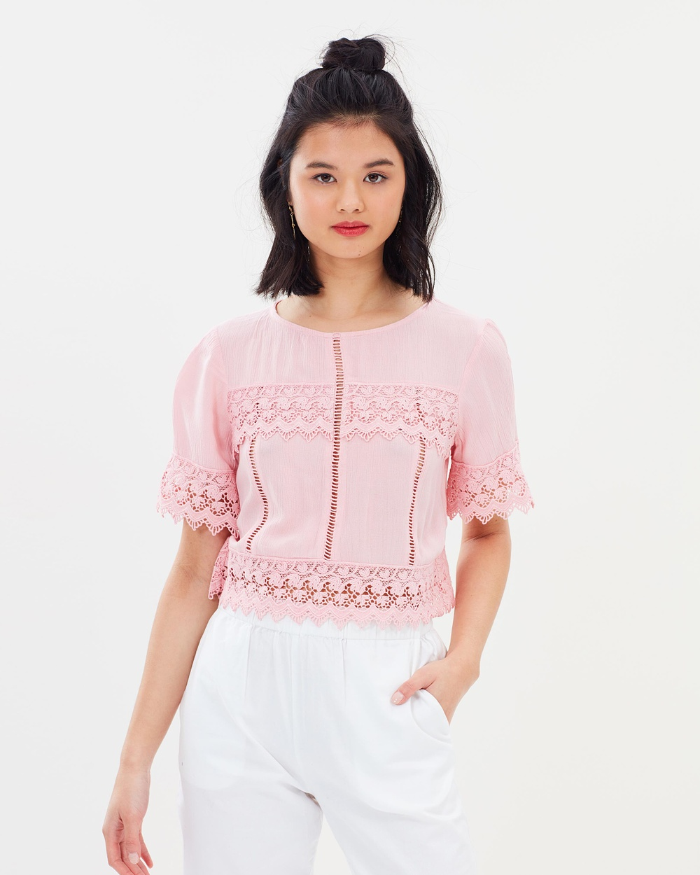 Miss Selfridge Cutwork Angel Sleeve Blouse Tops Pink Cutwork Angel Sleeve Blouse