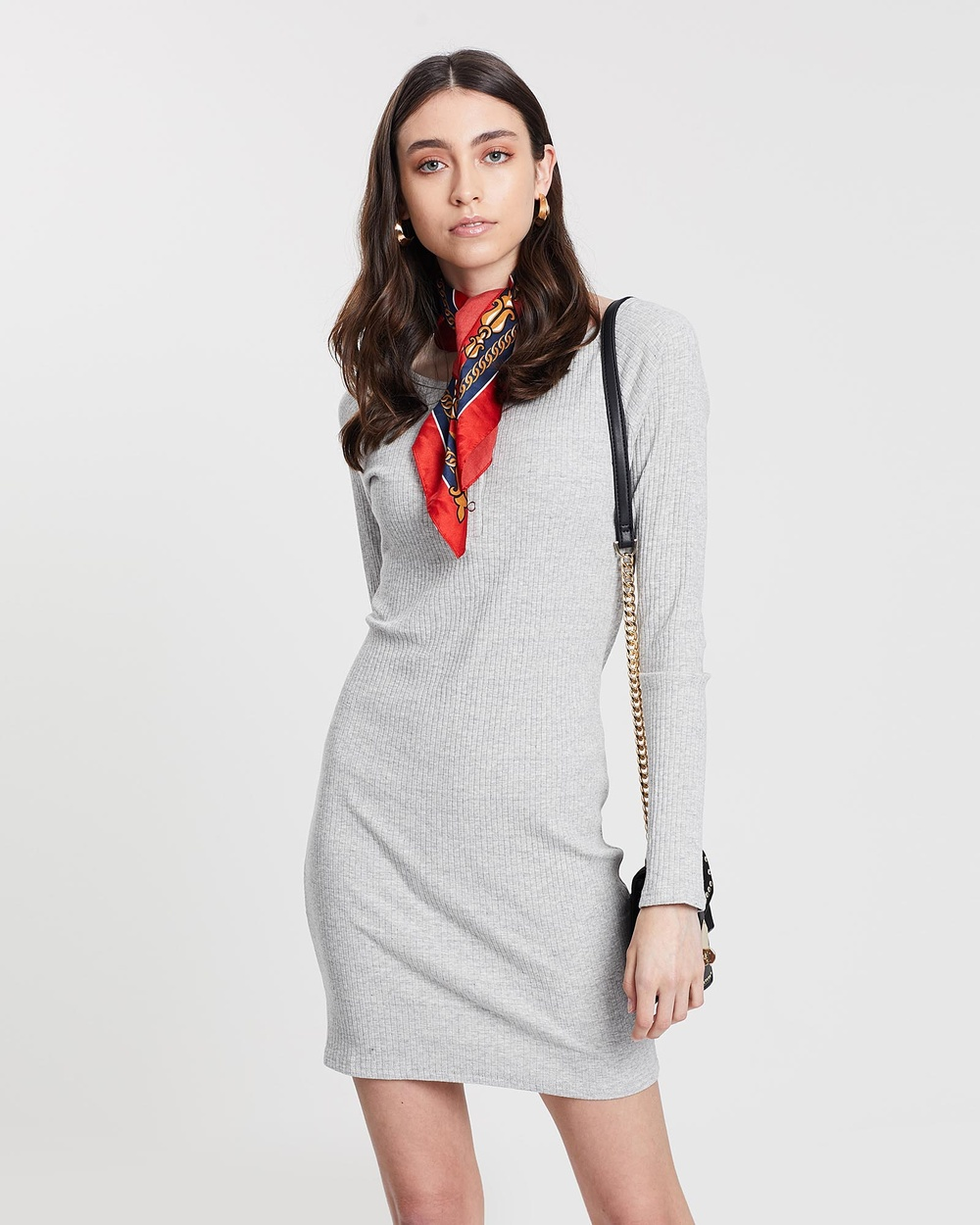 ACHE Grey Long Sleeve Rib Dress