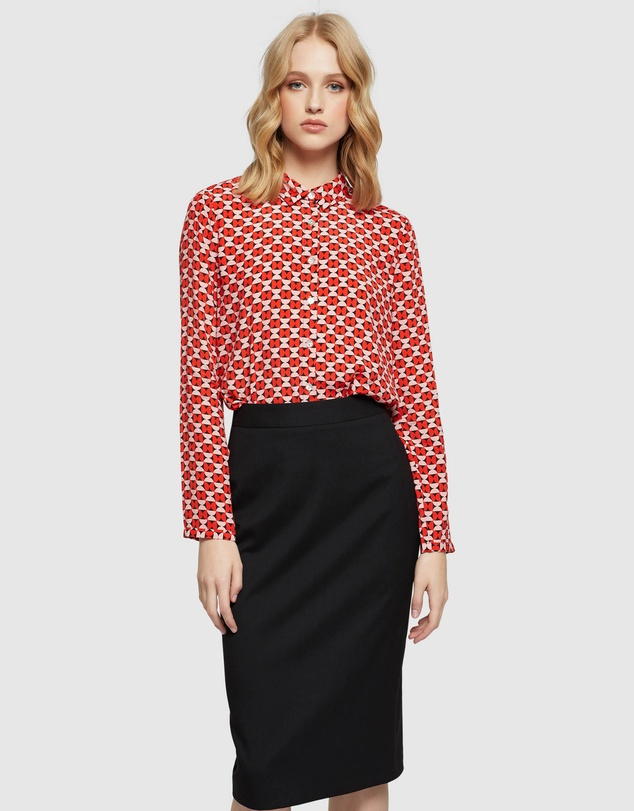 Oxford - Poppy Butterfly Geo Printed Blouse