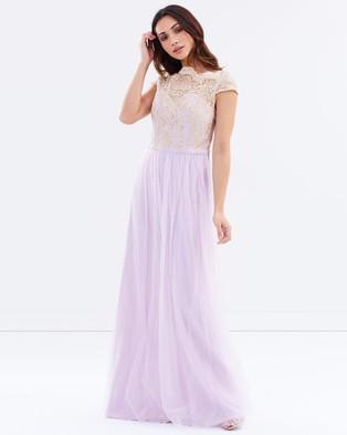 Chi Chi London – Alicia Dress – Bridesmaid Dresses (Lilac & Rose Gold)