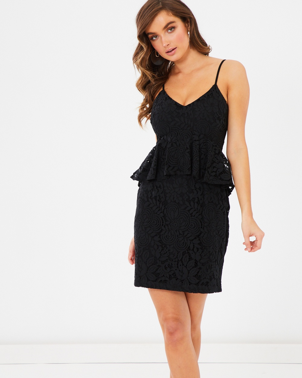Tussah Black Lace Gracie Peplum Dress