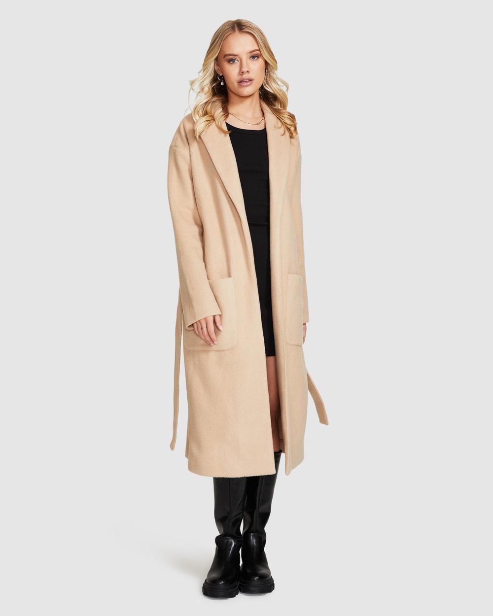 Alice In The Eve Willow Longline Coat Tan Coats & Jackets TAN