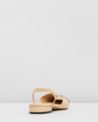 Atmos&Here Monaco Leather Flats - Ballet Flats (Beige & Black Patent Leather)