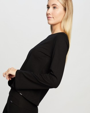 Le Buns Stella Fluted Long Sleeve Shirt - T-Shirts (Black)
