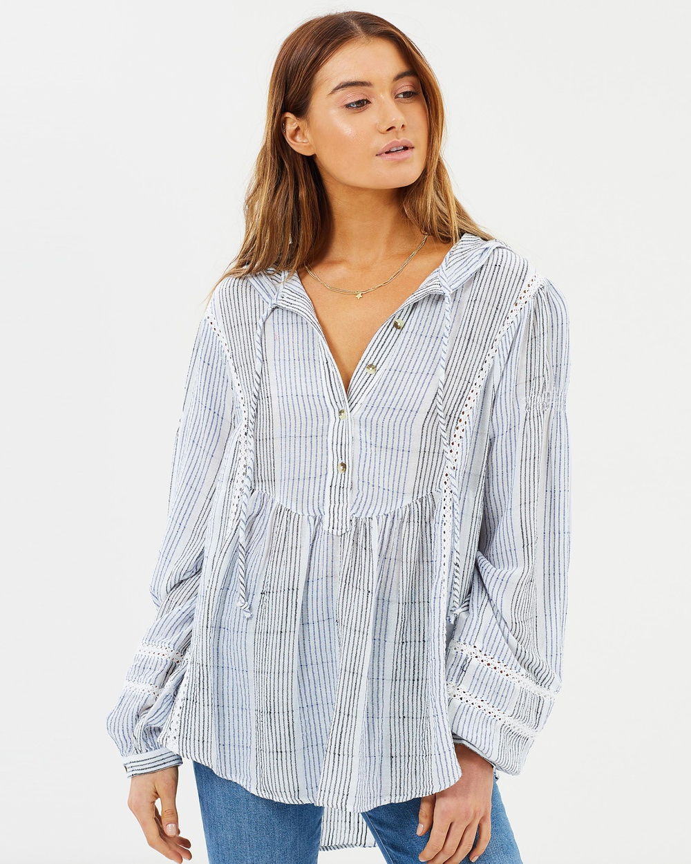 Free People Baja Babe Striped Pullover Tops Blue Baja Babe Striped Pullover