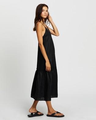 AERE - Drop Hem Midi Dress Dresses (Black)