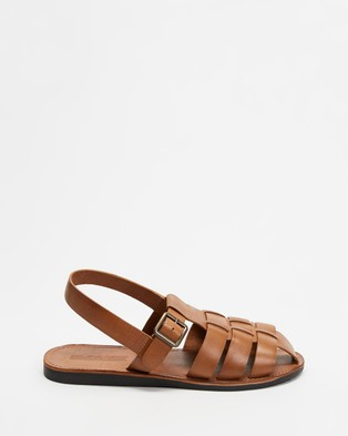 Double Oak Mills - Kennet Leather Sandals Casual Shoes (Tan)