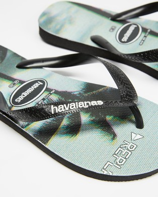 Havaianas - Photoprint Palms   Men's - All thongs (Black, Black & Steel Grey) Photoprint Palms - Men's