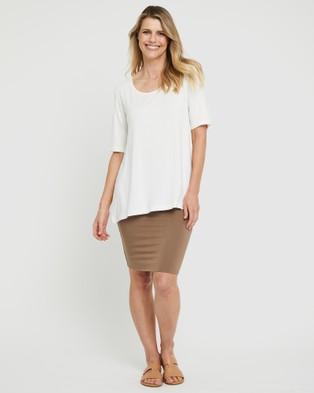 Bamboo Body Carter Tunic Top - T-Shirts & Singlets (Ivory)