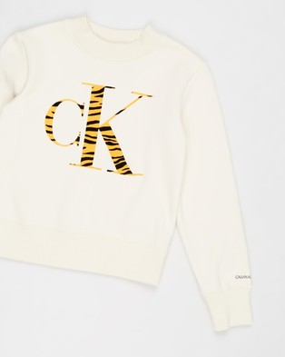Calvin Klein Jeans Urban Animal CK Flock Sweatshirt   Teens - Sweats (Whitecap Grey)