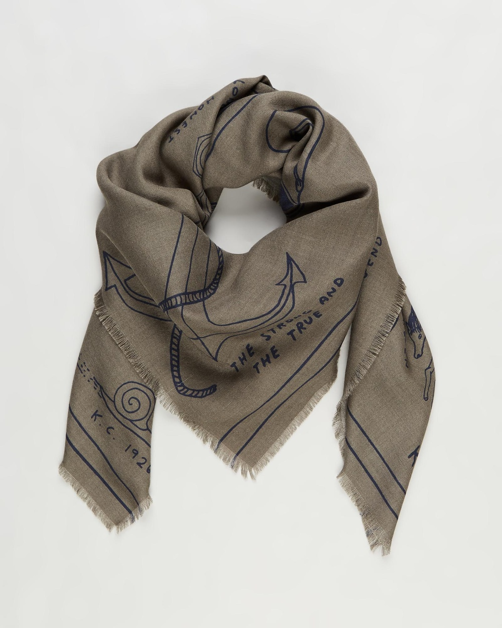 Kent and Curwen Printed Statement Scarf Scarves & Gloves Green