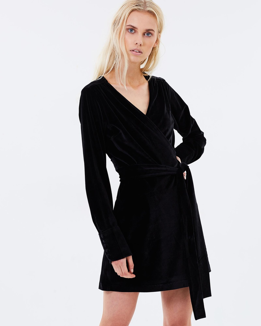 Isabelle Quinn Winona Wrap Short Dress Dresses Black Winona Wrap Short Dress