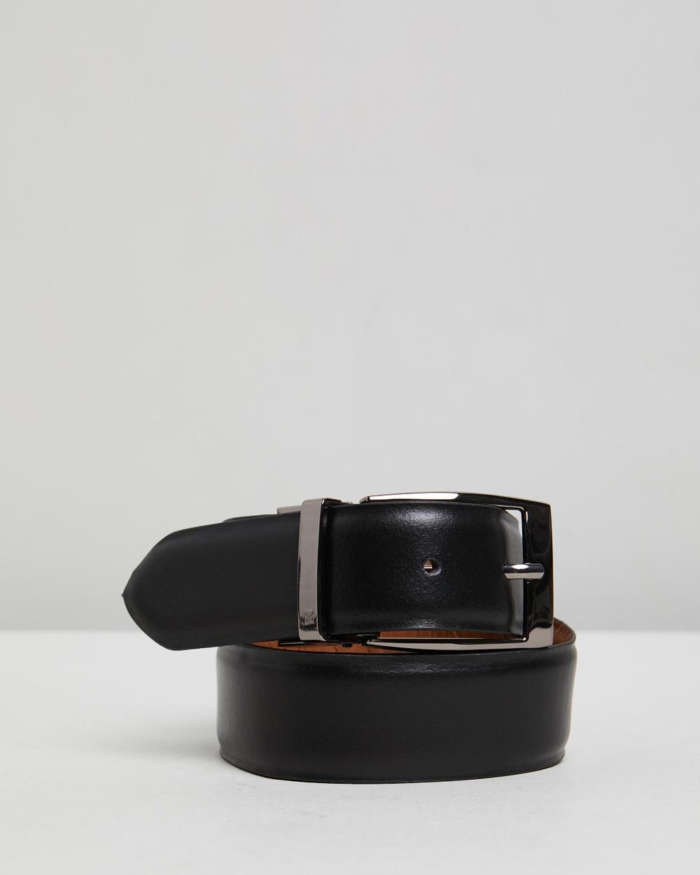 Double Oak Mills Reversible Leather Belt Belts Black & Tan