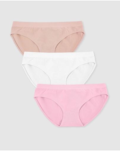 B Free Intimate Apparel Maternity Bamboo Bikini - 3 Pack Nude White & Pink