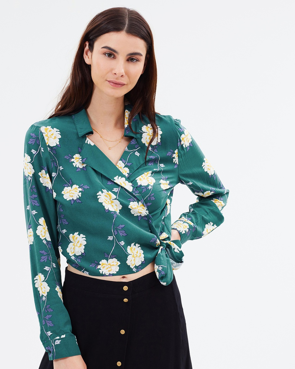 Cotton On Tasia Wrap Top Cropped tops Juddy Floral Dee Tasia Wrap Top