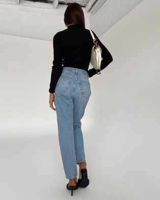 TOPSHOP Mom Jeans Clothing Bleach Wash