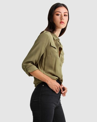 Belle & Bloom - Eclipse Rolled Sleeve Blouse Tops (Military)