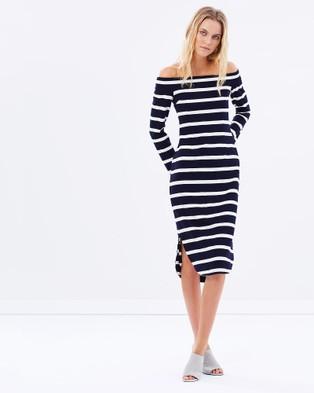 August Street – Perfect Strangers Off Shoulder Dress – Dresses (Navy Stripe)