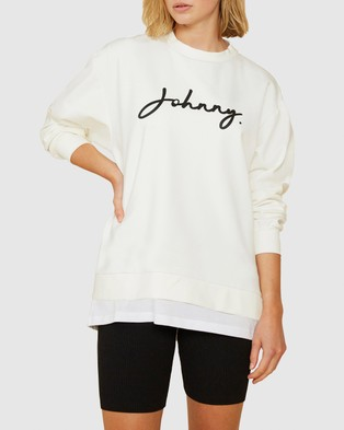 BY JOHNNY. Signature Crew Sweat - Sweats (White & Black)