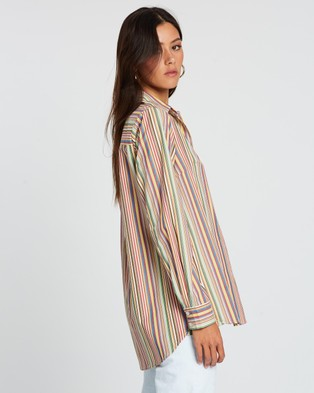 Dazie Fashion Feed Stripe Shirt - Tops (Colourful Stripe)