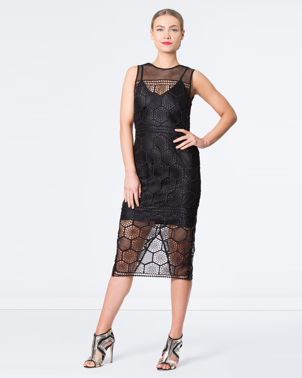 SIYONA Honeycomb Mesh Dress Dresses Black Honeycomb Mesh Dress